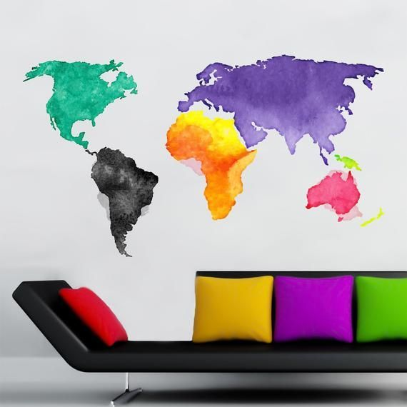World Map Wall Art, World Map Decal, Full Color Vinyl Decal, Map Sticker, Decal for Wall, Removable #worldmapmural World Map Wall Art, World Map Decal, Full Color Vinyl Decal, Map Sticker, Decal for Wall, Removable #worldmapmural