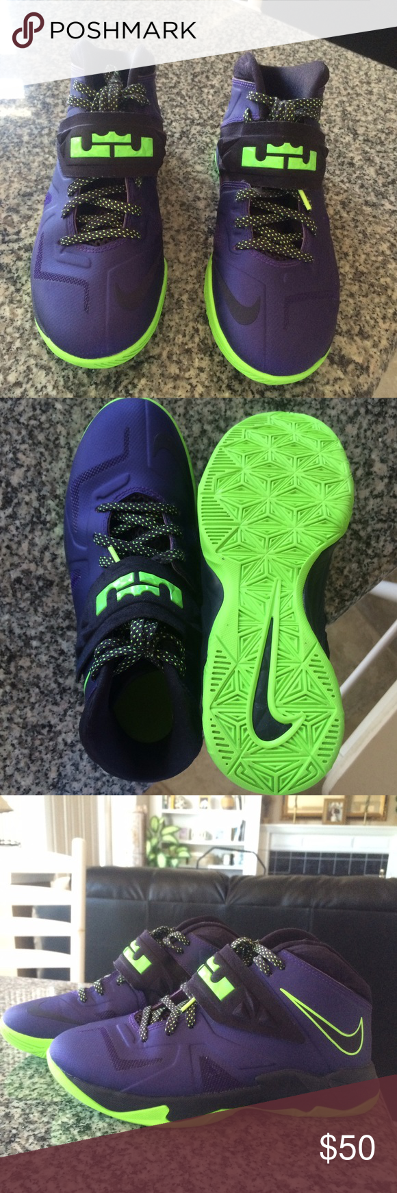 75f409e3a851 LeBron soldier 7 LeBron James soldier VII. Purple and green. Worn less than  15 times