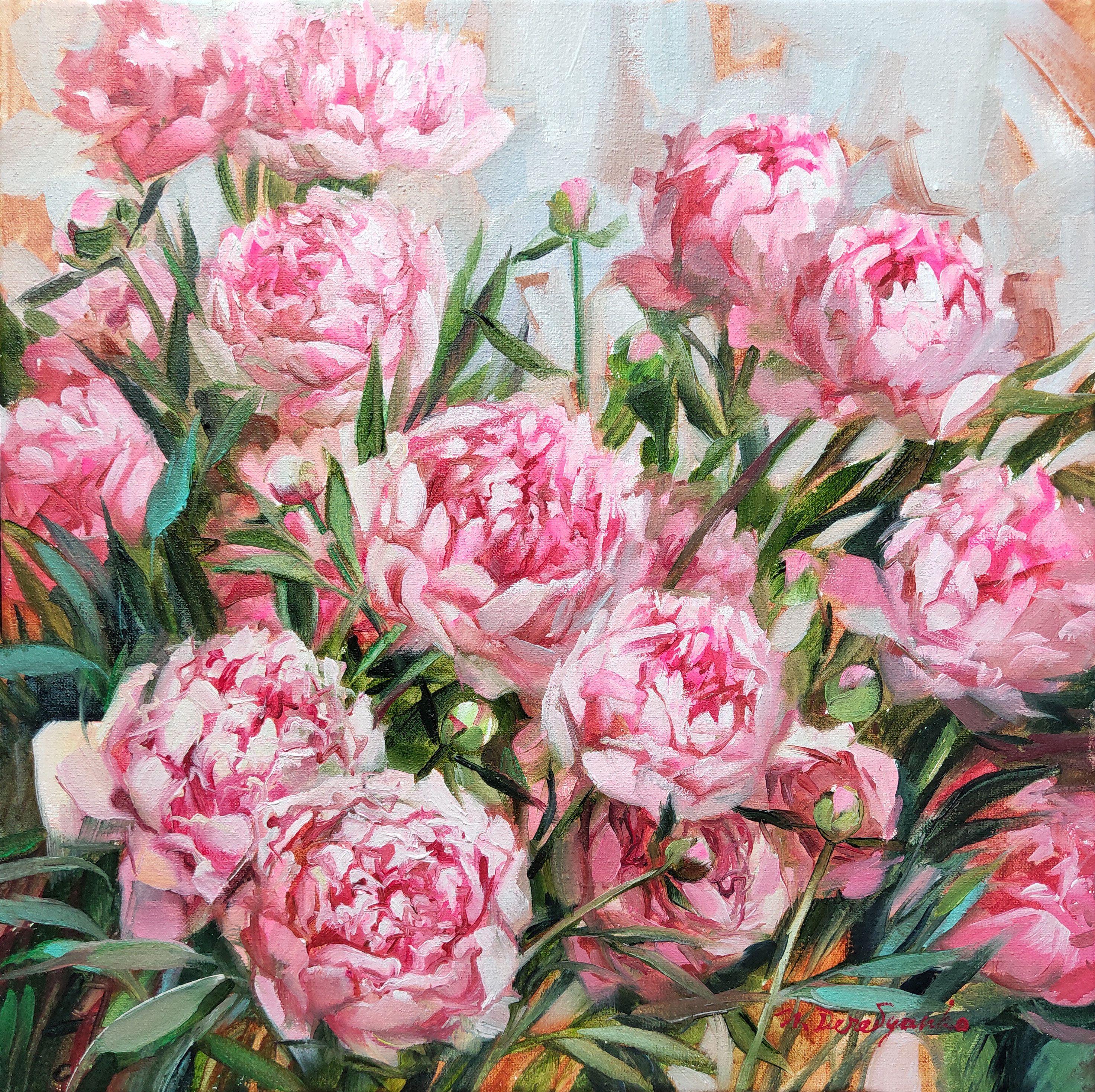 Peony Art Painting Original Flower Oil Painting On Canvas Bright