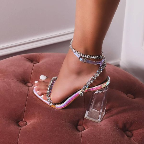 Ankle Strap Block Heels is part of Ankle strap block heel, Fashion high heels, Ankle strap heels, Heels, Fashion heels, High heels - Beautiful ankle strap block heels in diamante detail, featuring a perspex heel and an adjustable ankle strap in a silver snake print