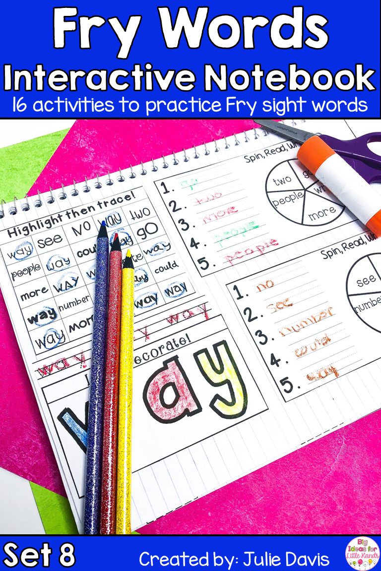 Fry Sight Words Interactive Notebook For First Grade Interactive Notebooks Sight Words Cvc Word Activities [ 1152 x 768 Pixel ]
