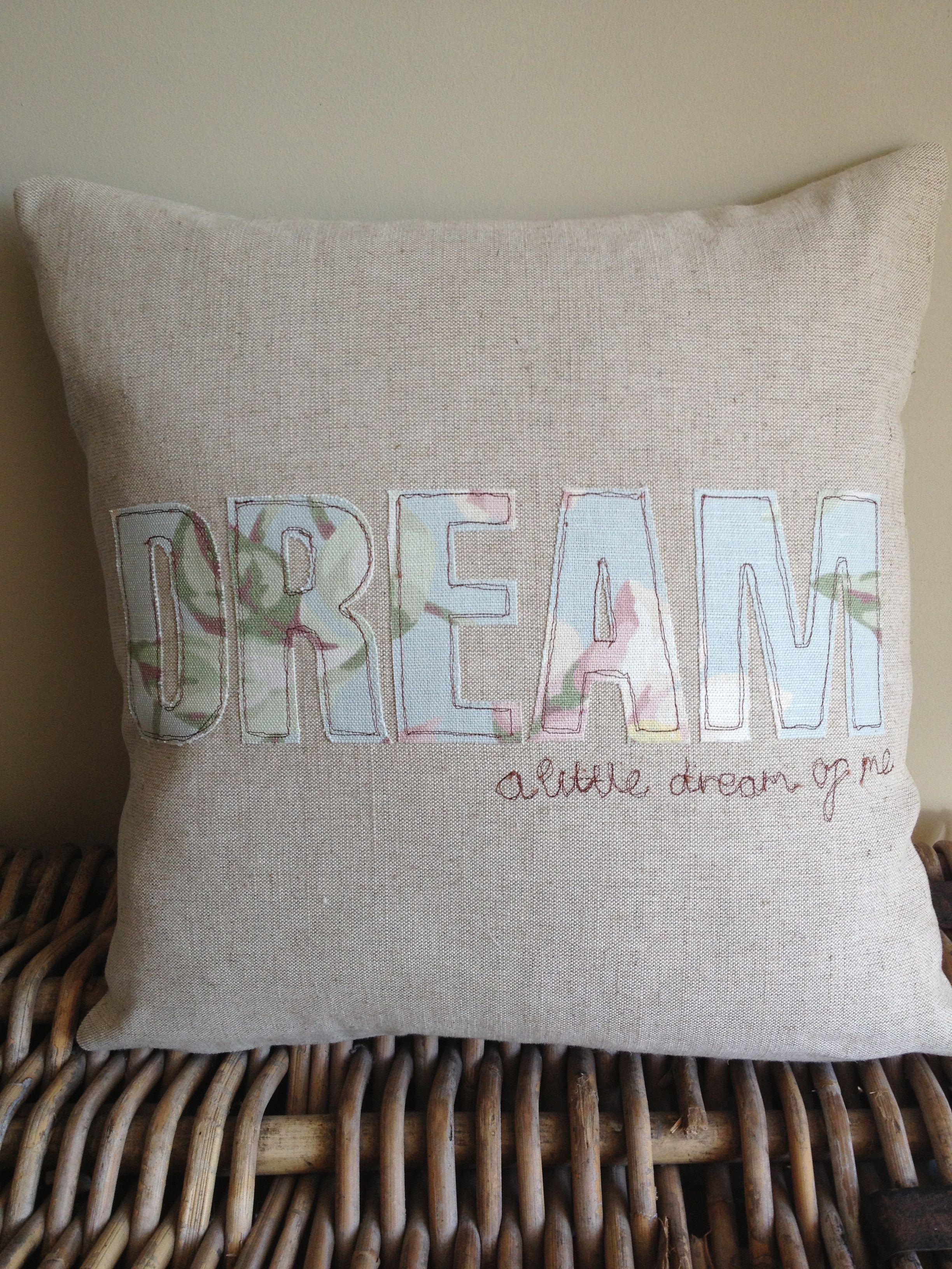 Handmade Cushion using Laura Ashley fabrics applique and free motion machine embroidery Dream a little & Handmade Cushion using Laura Ashley fabrics applique and free ... pillowsntoast.com