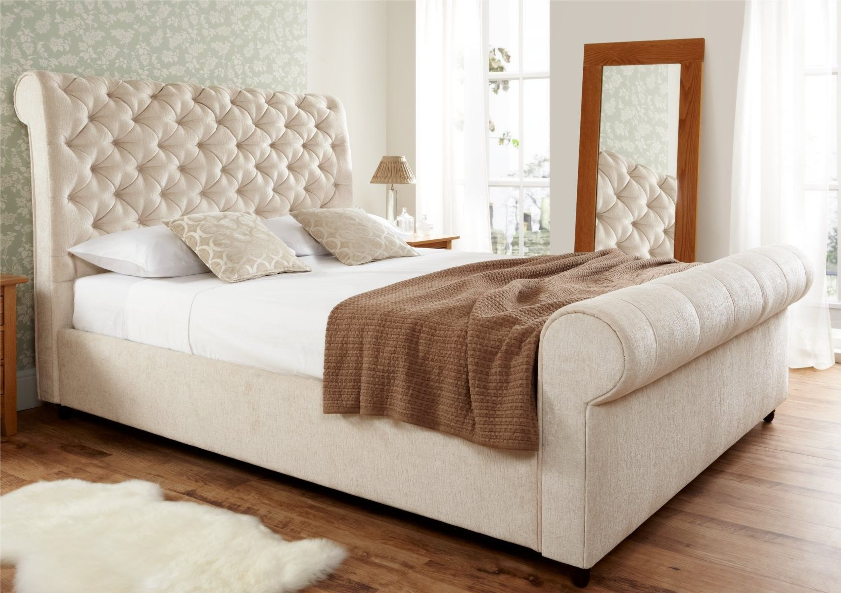 Elegance Upholstered Sleigh Bed   Super King Size Beds   Bed Sizes