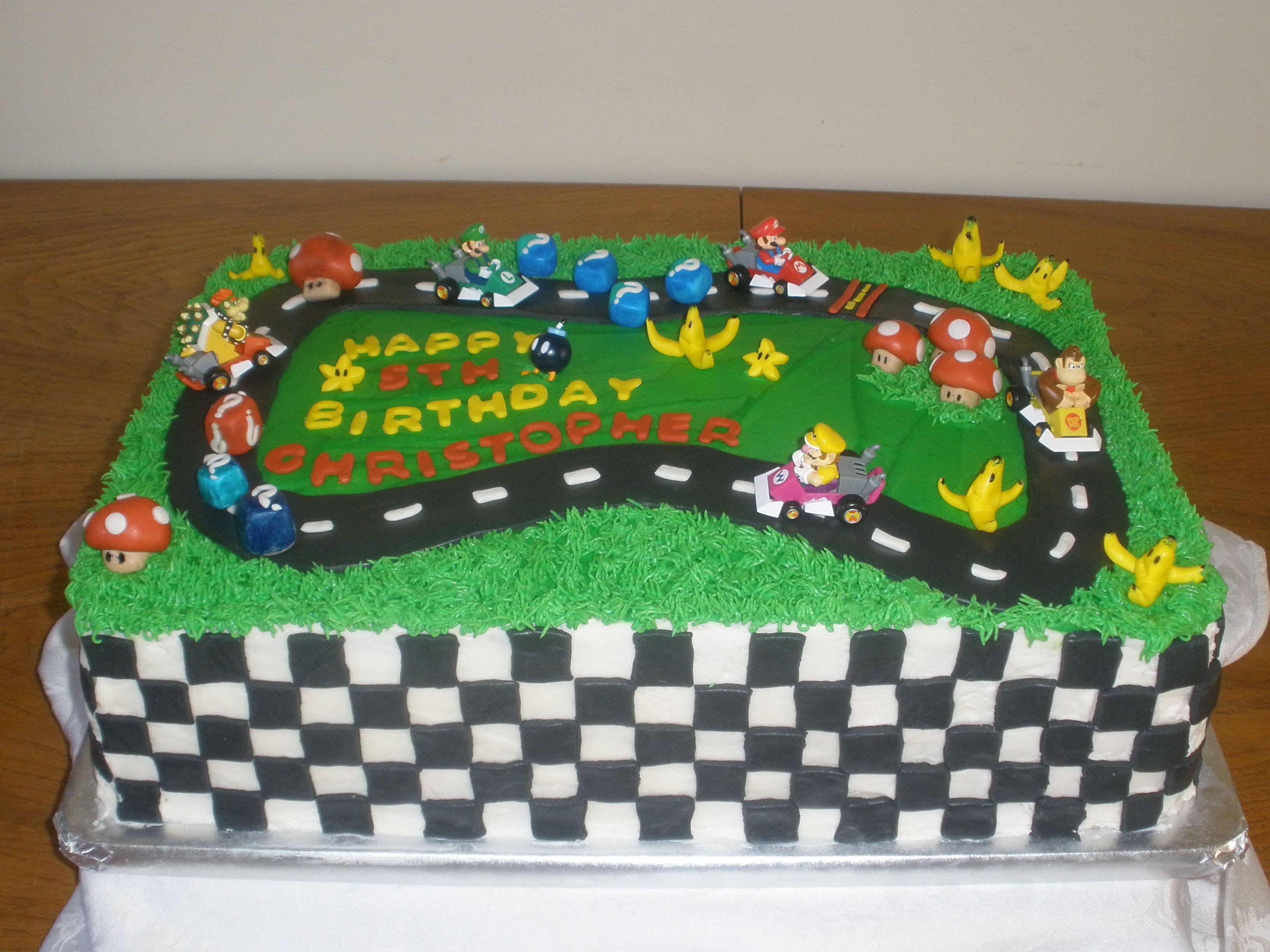 Christopher S Mario Kart Birthday Cake Race Track Cake Mario Birthday Party Go Kart Party