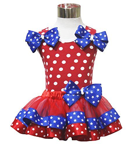 4th Of July Red White Blue Stars Top And Skirt Outfit
