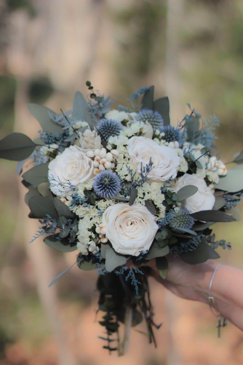 Dusty Blue Bouquet | Blue and Gray Bouquet | Blue Bouquet | White Bouquet | Dried Flower Bouquet | Wedding Bouquet | April Collection