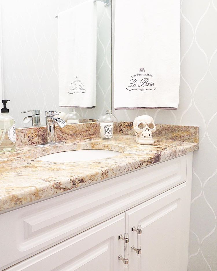 A DIY Beautiful Stenciled Bathroom Wall That Looks Like Wallpaper Using The  Serenity Allover Stencil Pattern