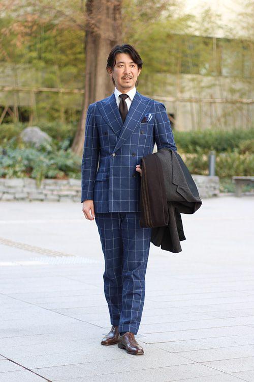 シャツの着こなし コーディネート Ozie チェスターコートとウィンドウペーンのスーツとのコーディネート シャツの専門店 Ozie オジエ 男性ファッション ファッションアイデア ファッション