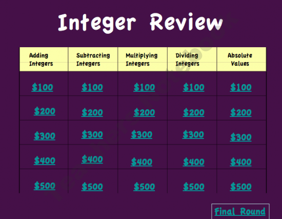 Integers Notes/Lectures, Quizzes, Tests, PowerPoint Review
