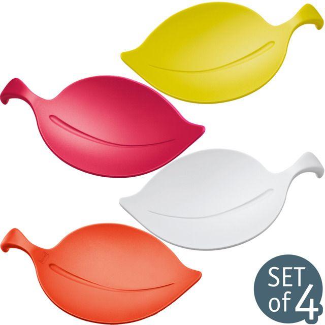 Spodeczki Na Przekaski Leaf On 4 Sztuki W Komplecie Koziol Appetizer Bowls Ceramic Egg Cups Engraved Cheese Board