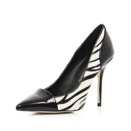 Black zebra print toe cap court shoes $100.00