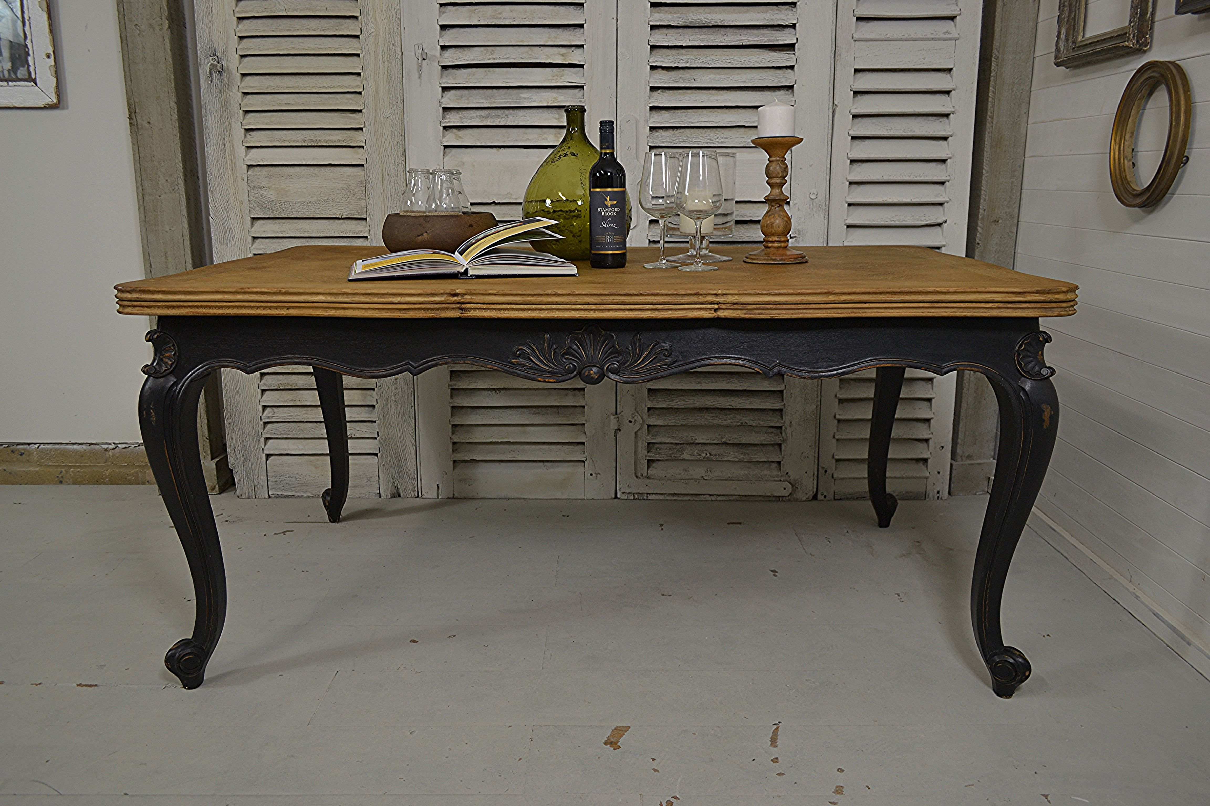 This french versailles oak dining table in black can be for 10 seater oak dining table and chairs