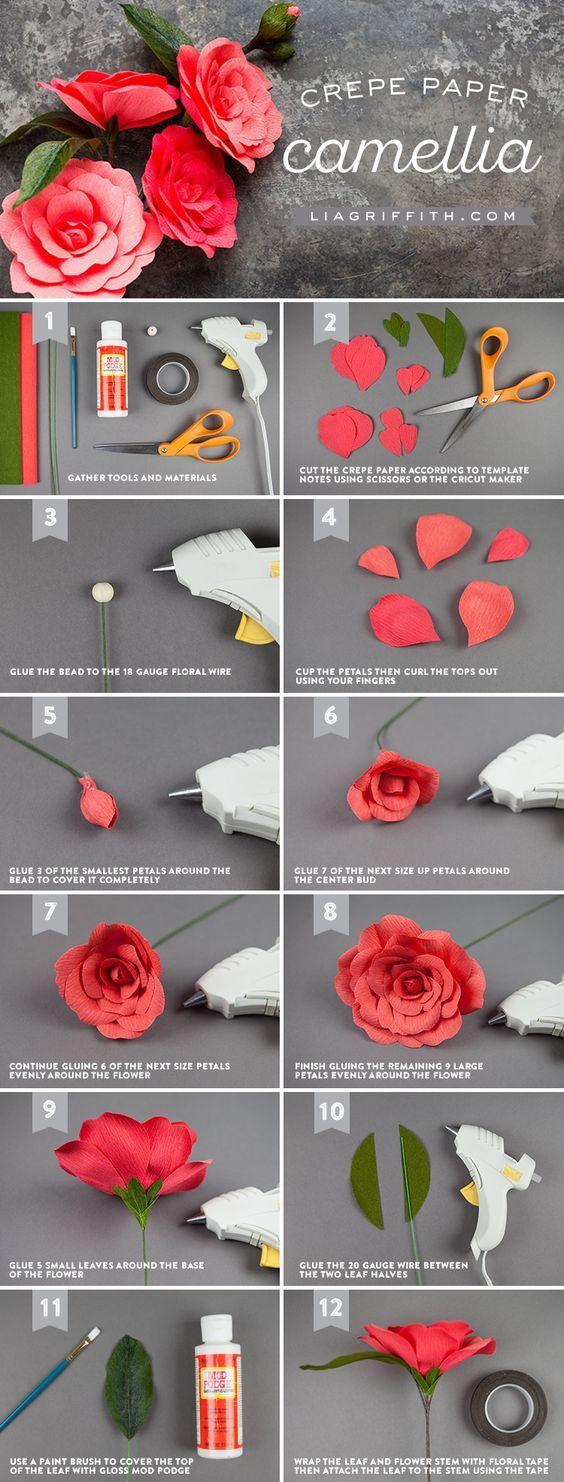 Crepe Paper Camellia Lia Griffith Www Liagriffith Com Paperflower Paperflowers Paperart Paperlove Paper Flowers Paper Flowers Diy Paper Flower Tutorial