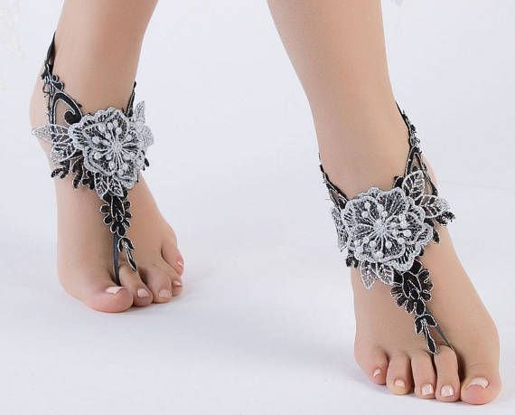 Barefoot Sandals Lace Bridal Shoes Beach Wedding