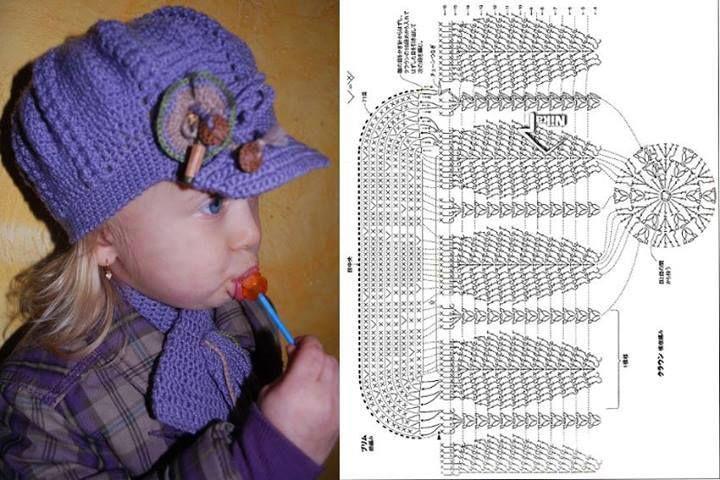 Boné em crochet. (Gráfico) | Crochet | Pinterest