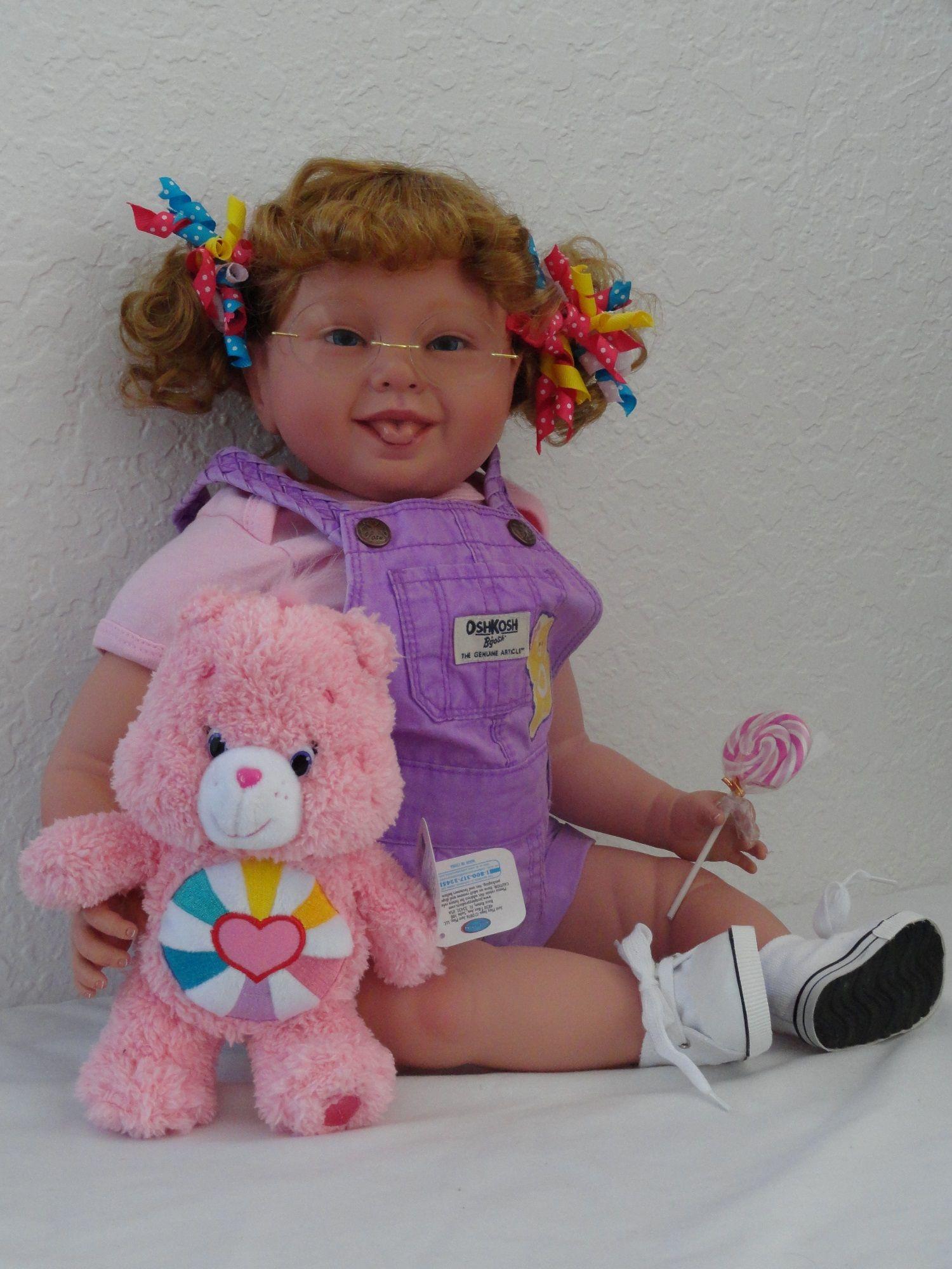 "Reborn 22"" Down Syndrome Toddler Girl doll ""Care Bear Chrissy"