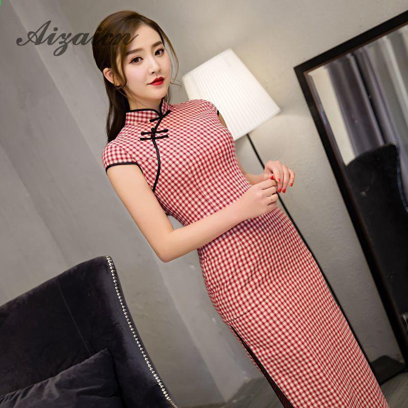 83ac3fe574 2018 Wysokiej jakości czerwona krata nowoczesna długa sukienka Qipao  Cheongsam tradycyjny chiński odzież dla kobiet orientalne