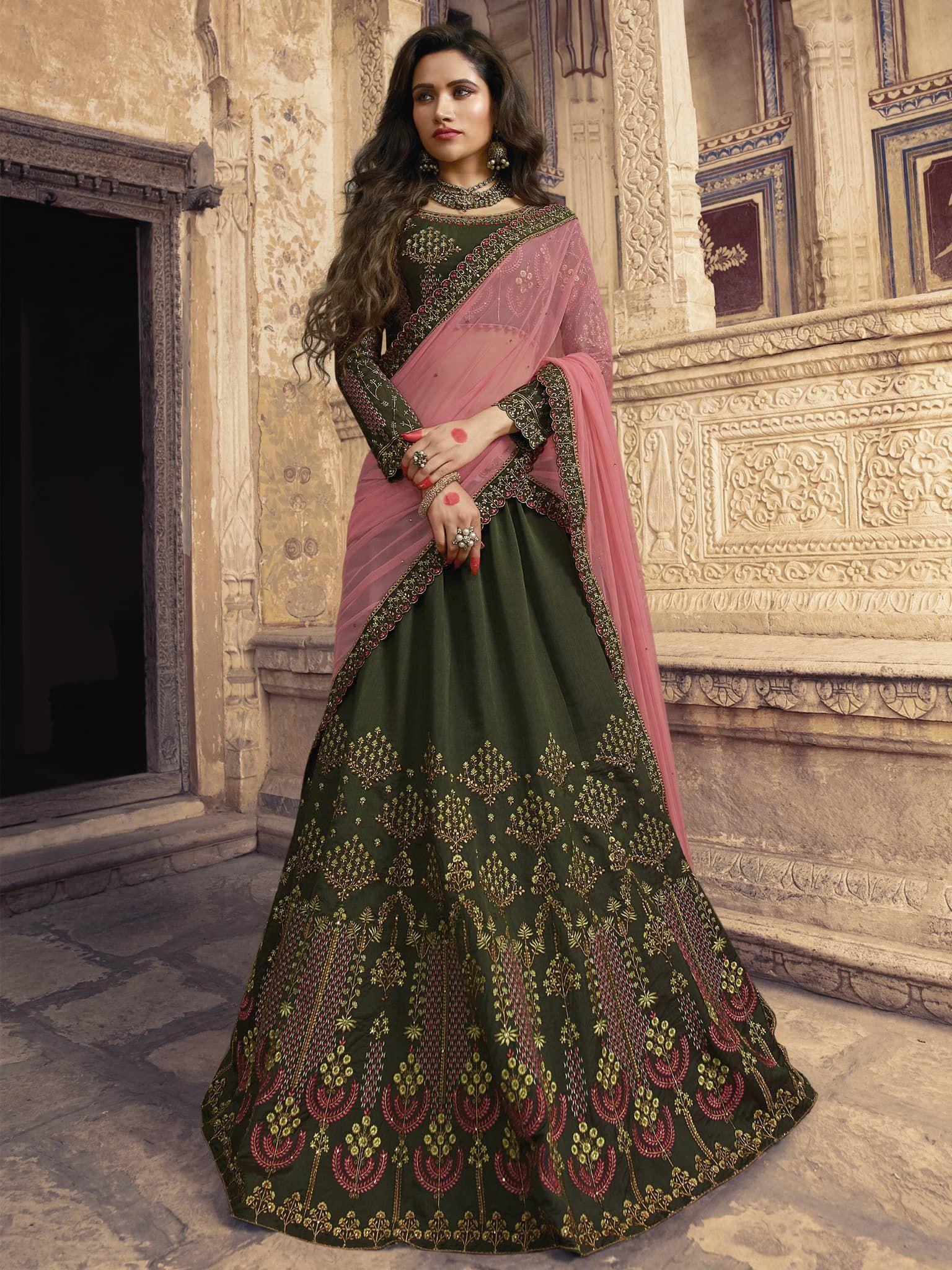 3aa0ff3d51 Dark Mehndi Green Color Barfi Silk Fabric Heavy Zari, Resham Embroidery  With Hand Work And Lace Border Lehenga Choli