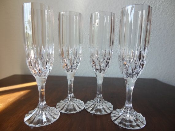 vintage set of 4 cristal d arques bretagne champagne glasses france lead crystal champagne. Black Bedroom Furniture Sets. Home Design Ideas