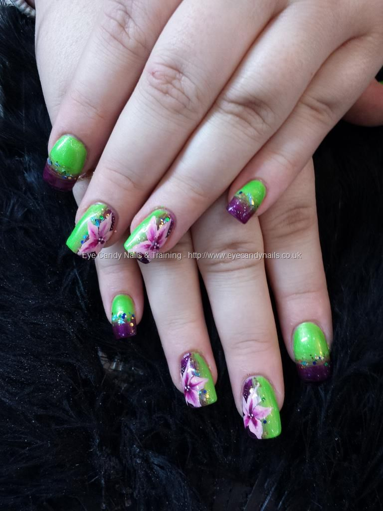 Lime green and purple fade with one stroke flower nail art nails eye candy nails training lime green and purple fade with one stroke flower nail art by elaine moore on 5 november 2013 at prinsesfo Image collections