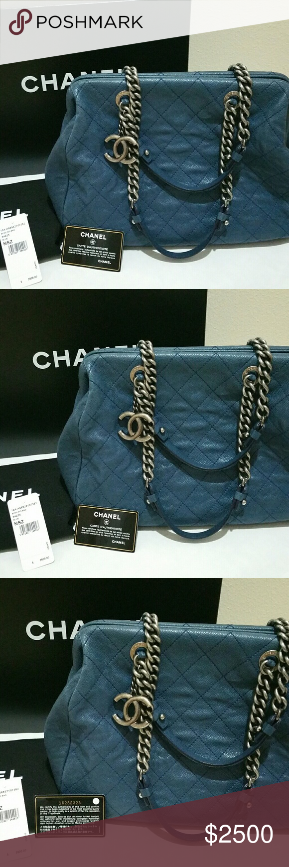 840012493422 AUTHENTIC CHANEL BOWLING BAG 84223 BLUE NSZ Price tag $3,500 , pre owned in  great conditioned