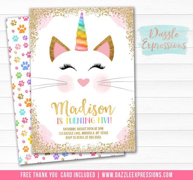 Printable Caticorn Birthday Invitation Kittycorn Kitty Cat - fresh birthday invitation jokes