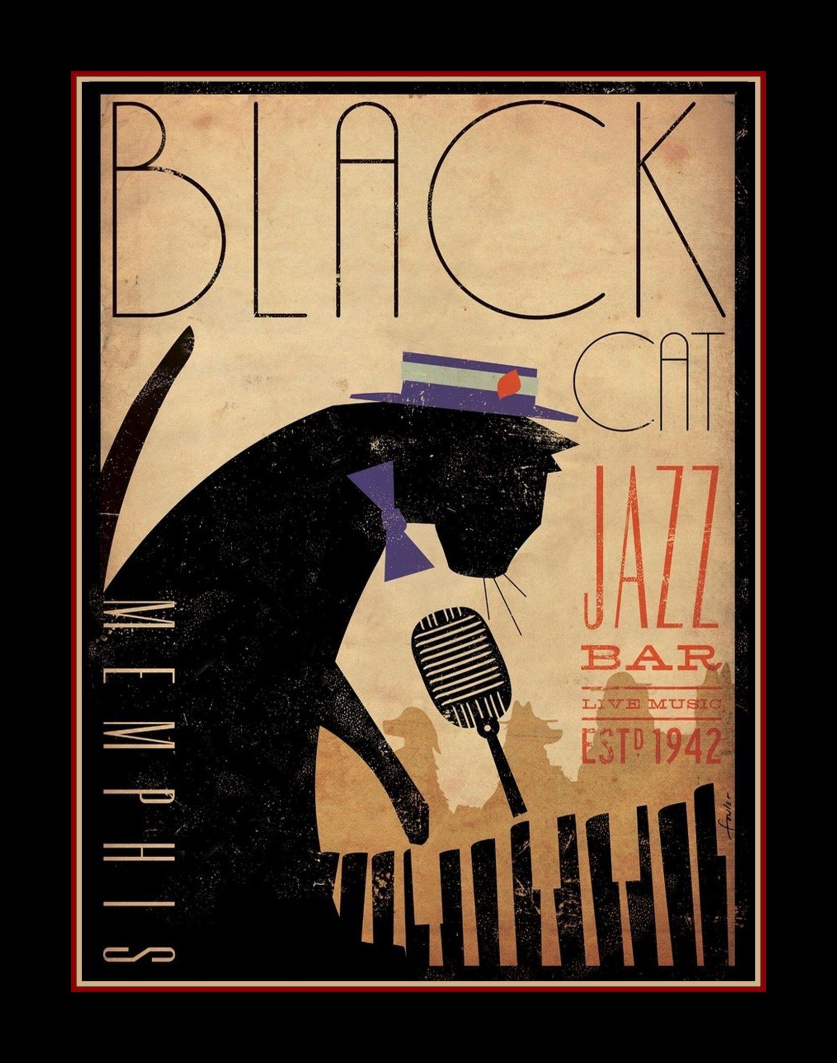 Vintage Memphis Black Cat Piano Bar Poster Gift For Men Women Jazz ...