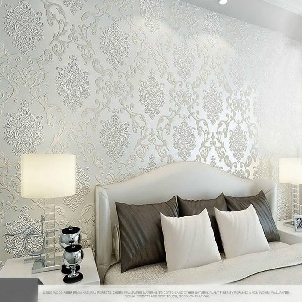 Aerwo New Modern Luxury Non Woven Ivory Damask Textured Embo