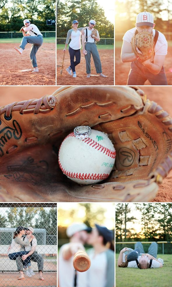 Baseball Engagement Shoot Themed engagement photos