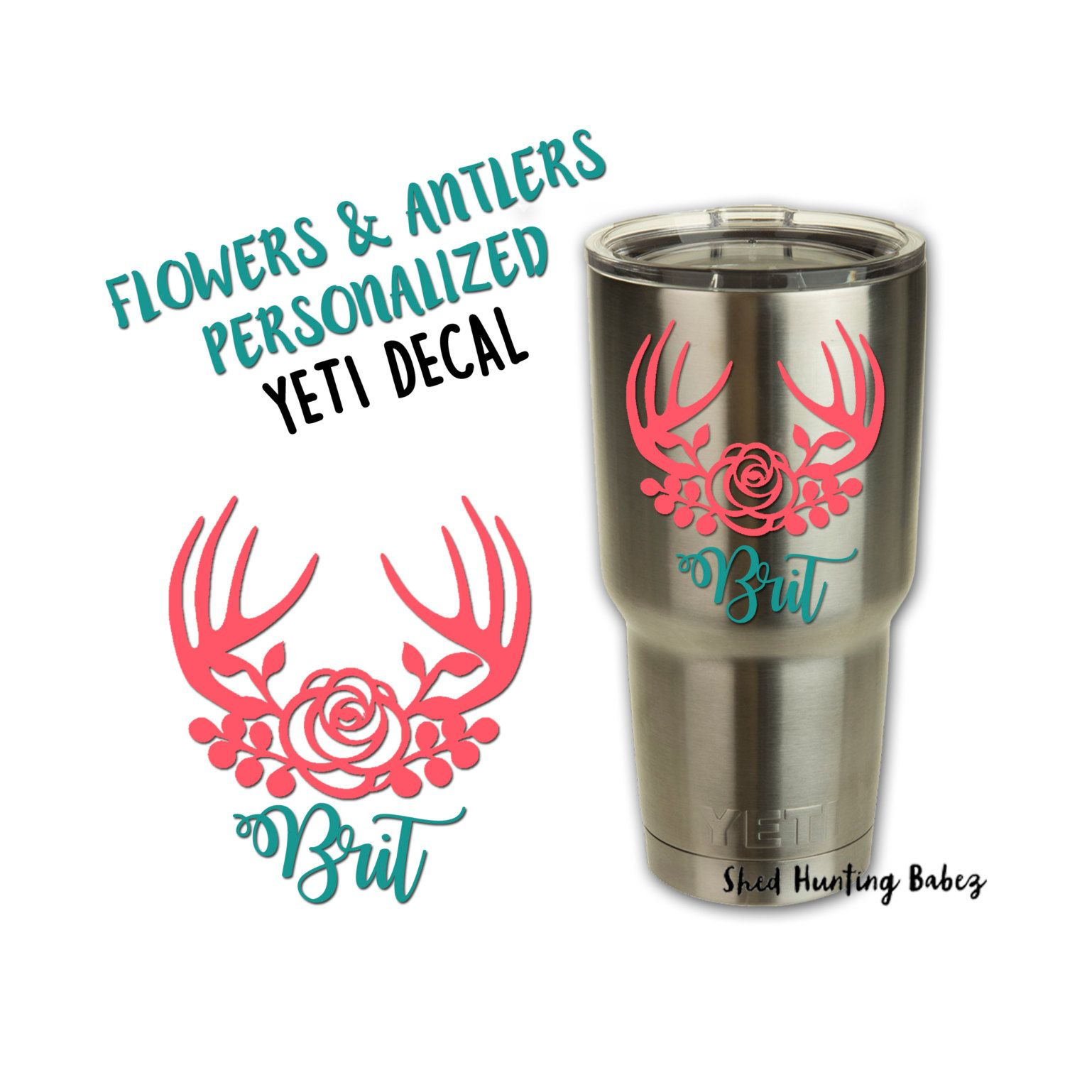 Personalized floral antler decal yeti tumbler decals for Fishing yeti decal