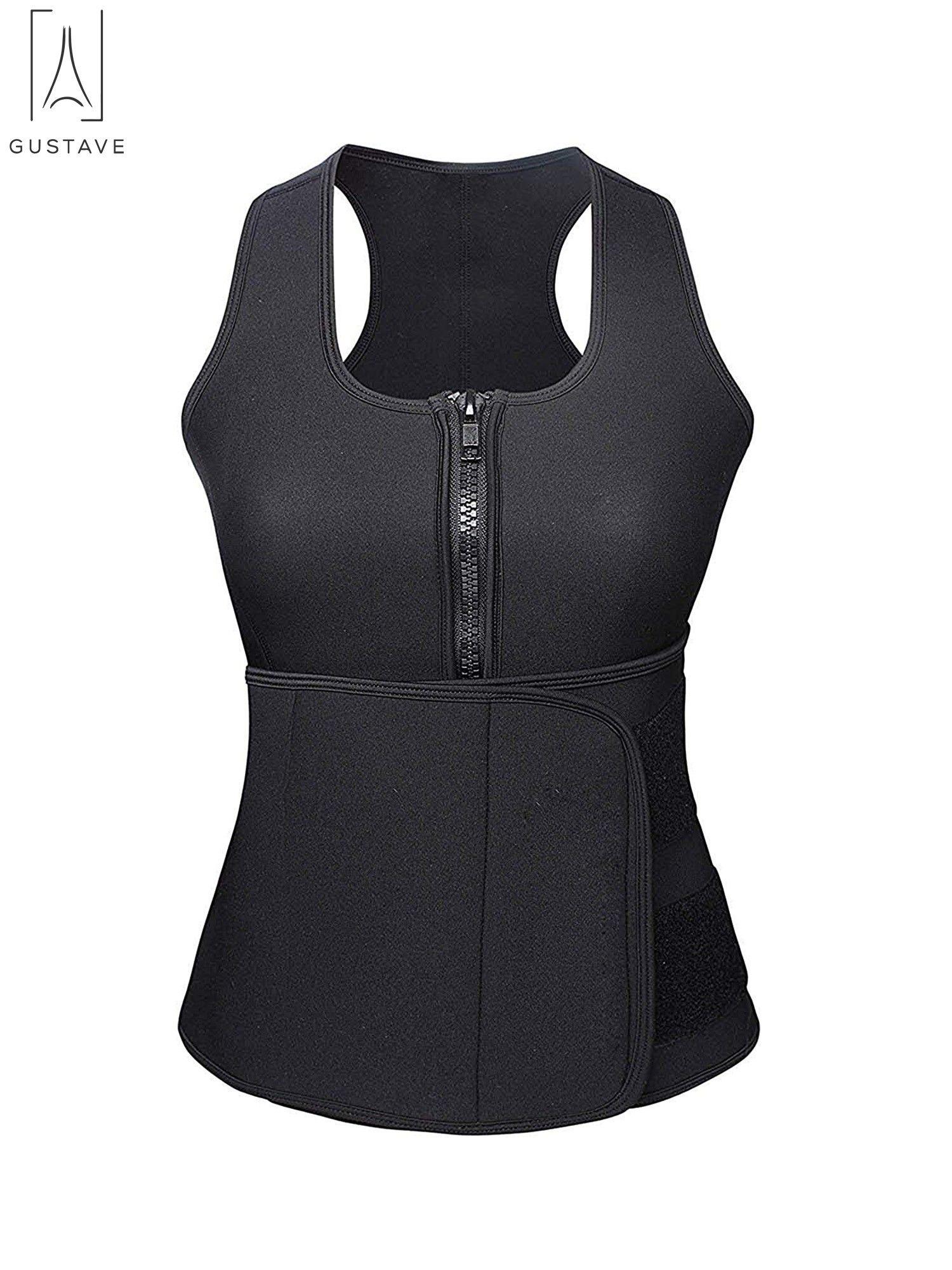 193dfe310b GustaveDesign Womens Neoprene Sauna Suit Waist Trainer Vest with Adjustable  Waist Trimmer Belt Body Shaper