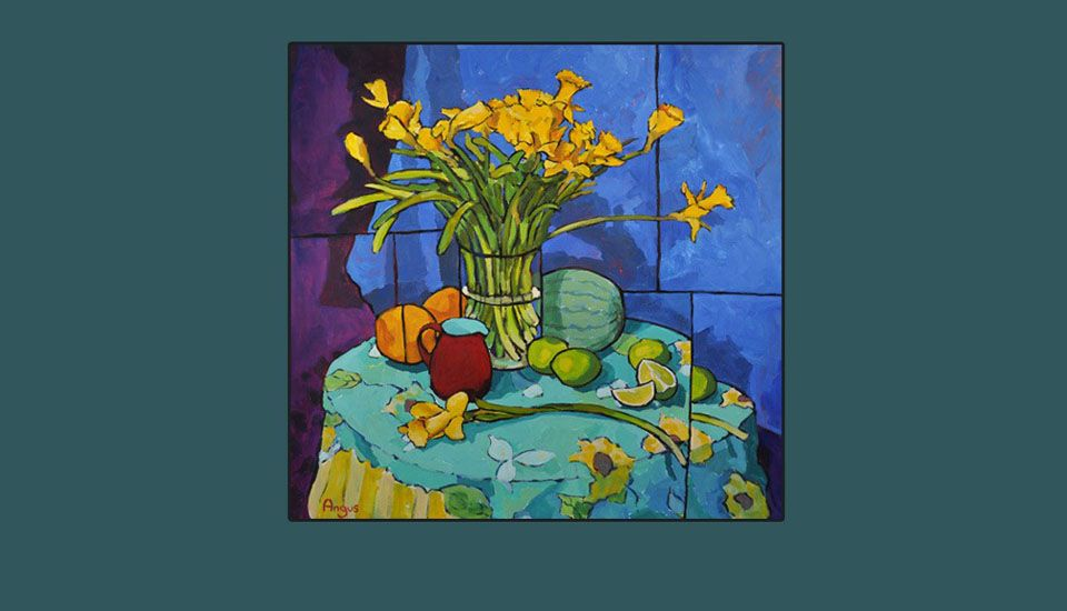 angus_wilson_Daffodils_on_flower_patterened_tablecloth