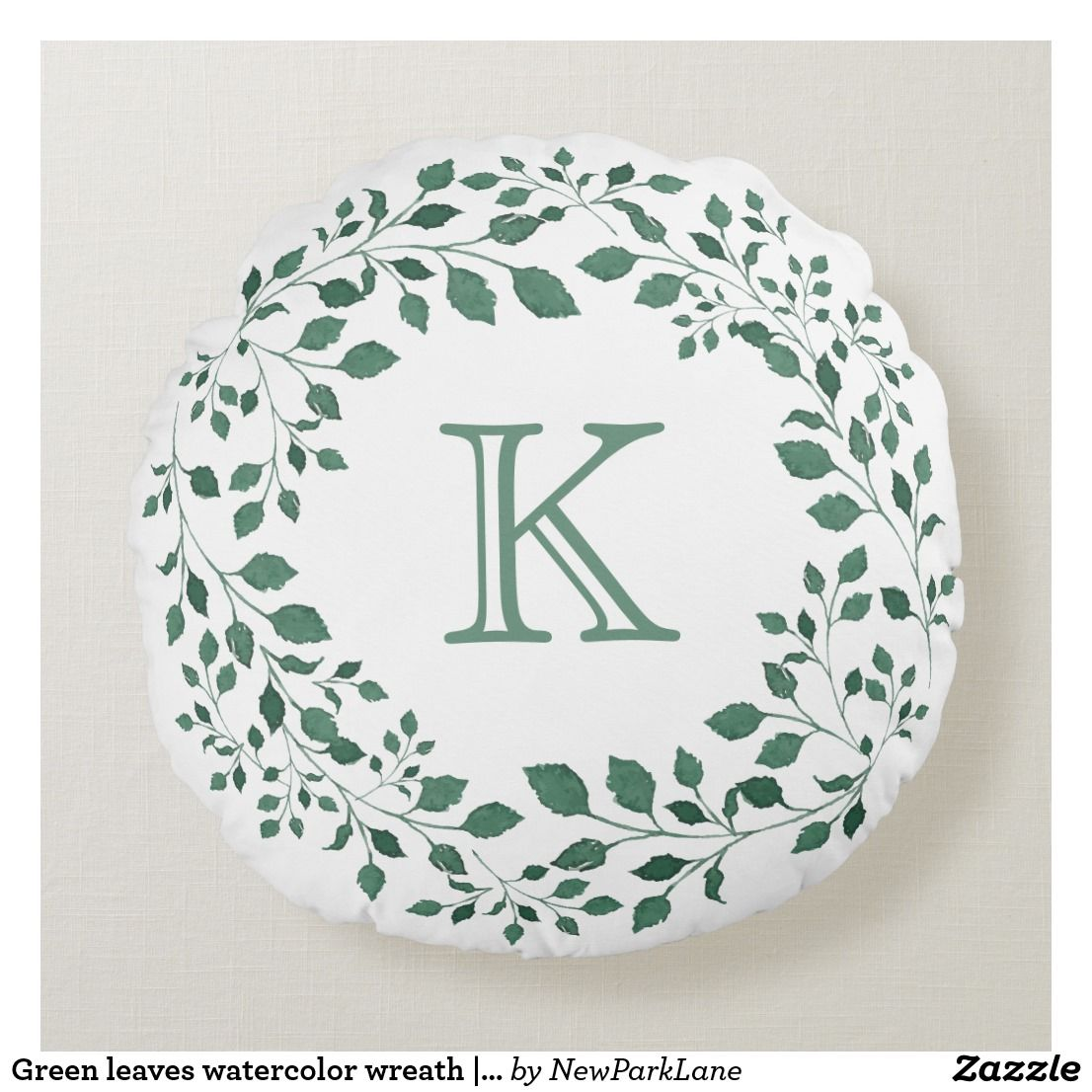 Green leaves watercolor wreath | Monogram Round Pillow