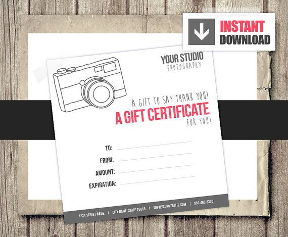 gift card gift certificate template for photographers camera gift