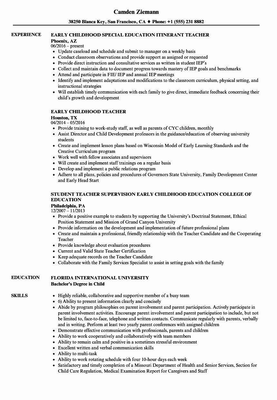 Resume Skills For Preschool Teacher