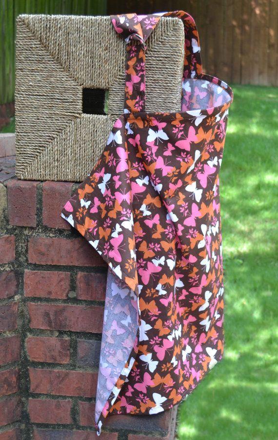 Adjustable Hoop Nursing Cover  Brown with Orange by TheKeenBean, $15.00