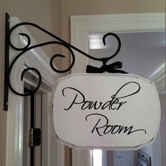 Office, Powder Room Custom 7x9 Wood Sign//Plaque With or Without Metal Bracket