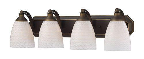 ELK Lighting 570-4B-Ws Four Light Vanity In Aged Bronze And White Swirl Glass