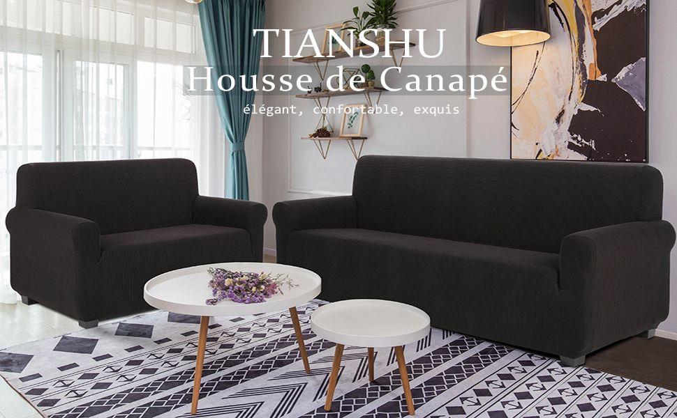 Tianshu Housse De Canape 2 Place Jacquard Housse De Canape Extensible Extensible Avec Accoudoirs Revetement De Canape Decoration Pour Salon Chambre 2 Place Divan