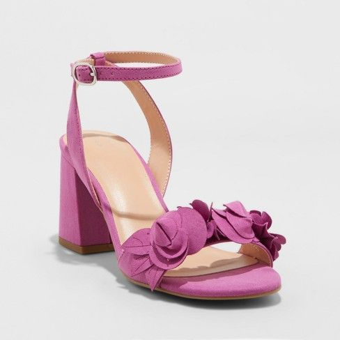 6b2bf745fd52 Inexpensive trendy women shoes purple magenta block chunky heels Women s  Nichelle Floral Heel Pumps - A New Day™ Orchid   Target