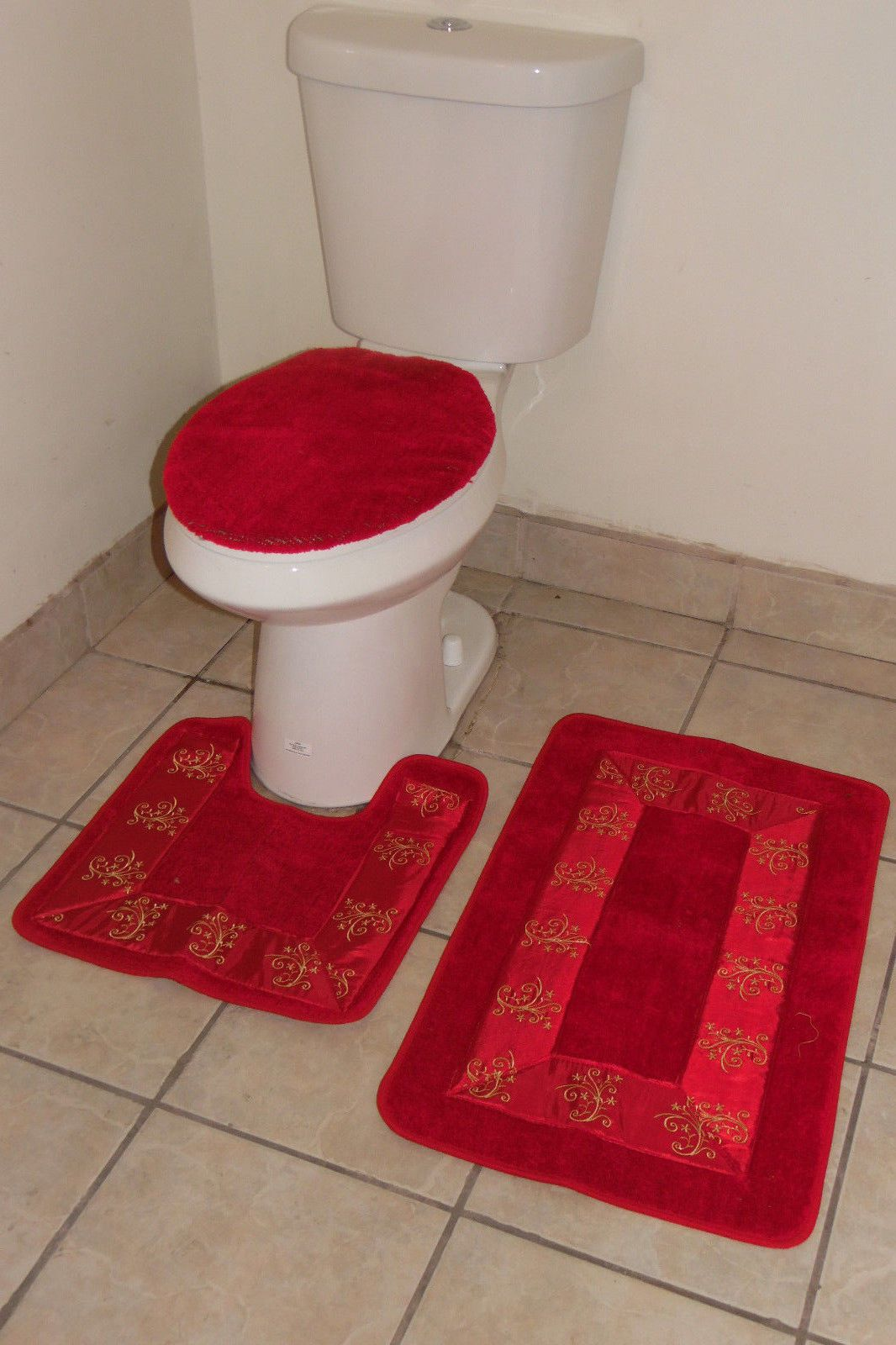 Bathmats Rugs And Toilet Covers 133696 3pc 5 Red Bathroom Set Contour Toilet Lid Cover Mats Rugs Embroidery Buy It Now Bathroom Red Mat Rugs Bathroom Sets