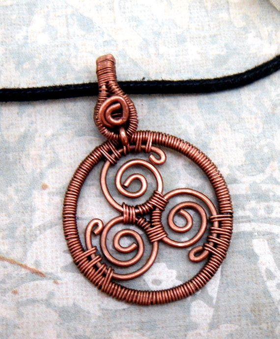 Copper Triskele Pendant Unisex by WynterCreations on Etsy, $38.00