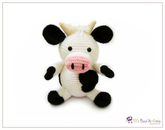 Amigurumi Vaca : Crochet cow amigurumi black and white farm animal stuffed