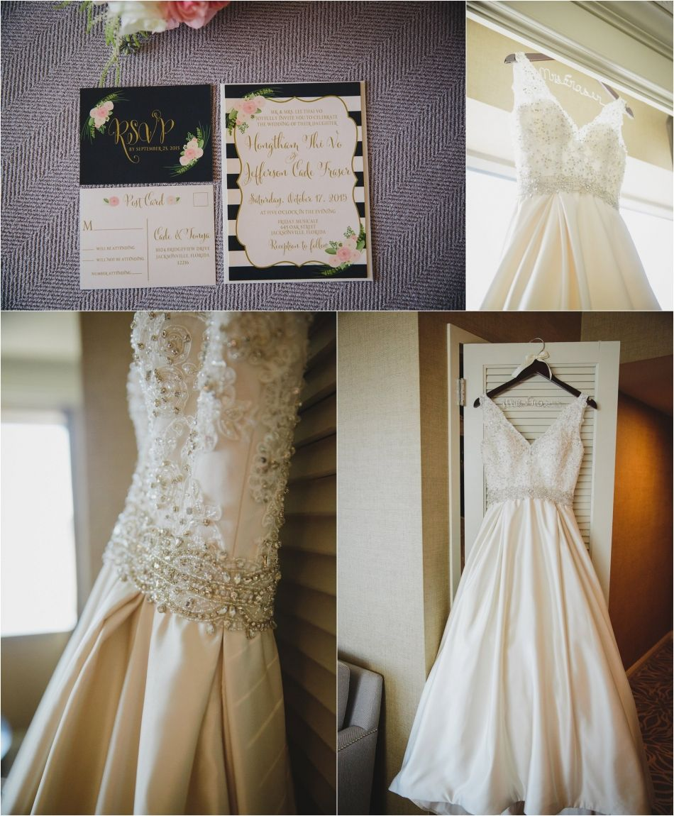 Wedding gown and invitation, Friday Musicale wedding in Jacksonville ...