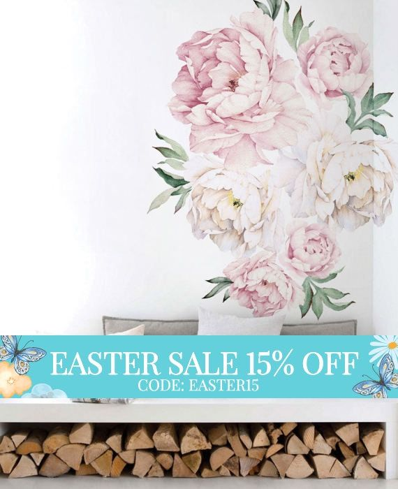 Peony Flowers Wall Sticker, Vintage Watercolor Peony Wall Stickers ...