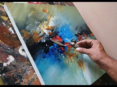 Abstract Painting Using Plastic Wrap Cloth And Palette Knife