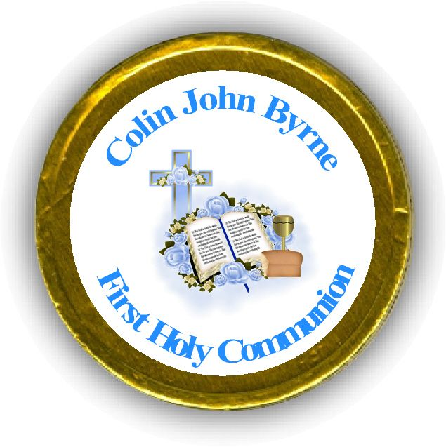 Blue Bible Cup First Communion Chocolate Coins
