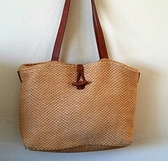 Talbots Straw Tote Bag Handbag Large Vintage Woven Leather Handles Ping Book Purse Natural French Framer S Market Beach