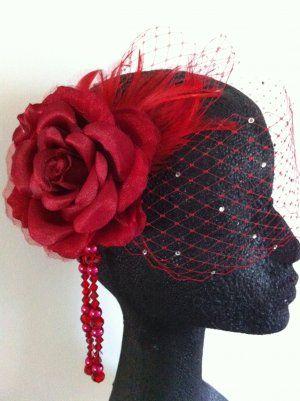 Elegant Red Birdcage Veil Fascinator Headpiece Wedding