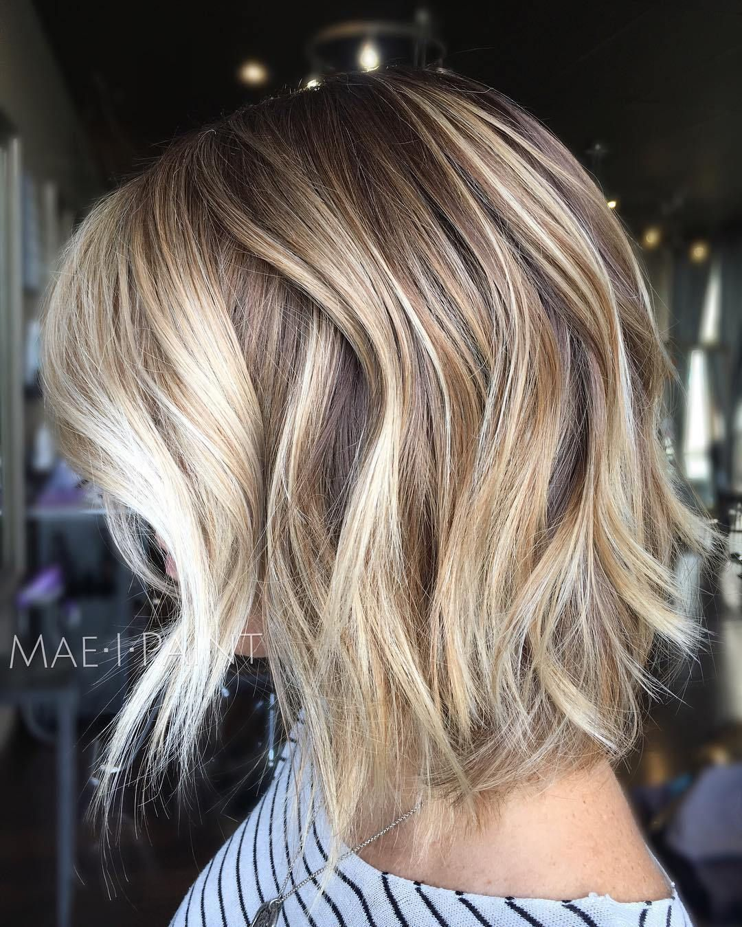fabulous choppy bob hairstyles lob caramel blonde and blonde bobs